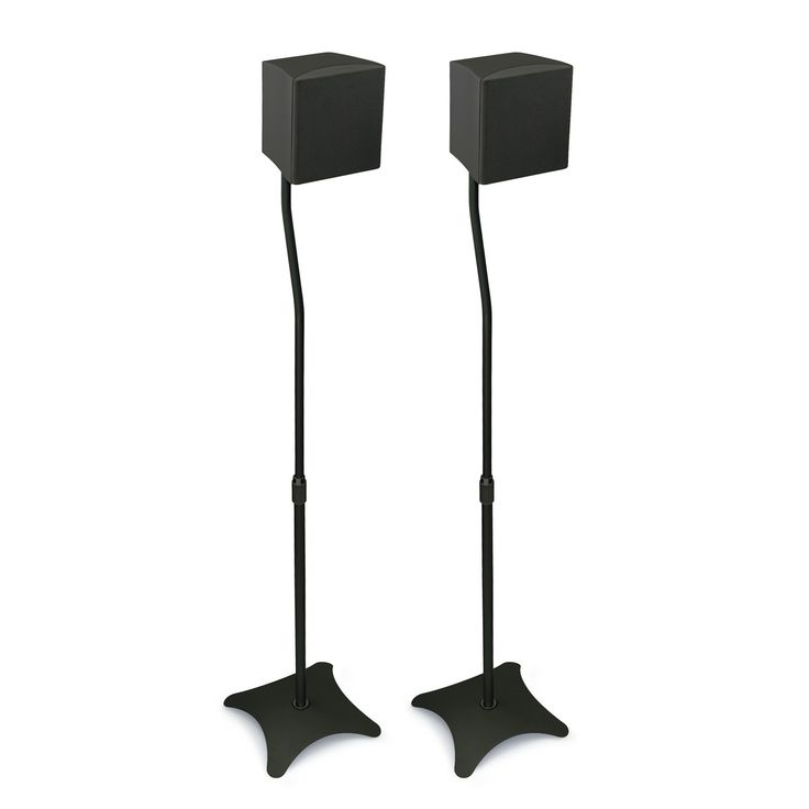 Mount-It! 2 Adjustable Speaker Stands with Weighted Base for Satellite Surround Sound Home Theater and Entertainment Centers