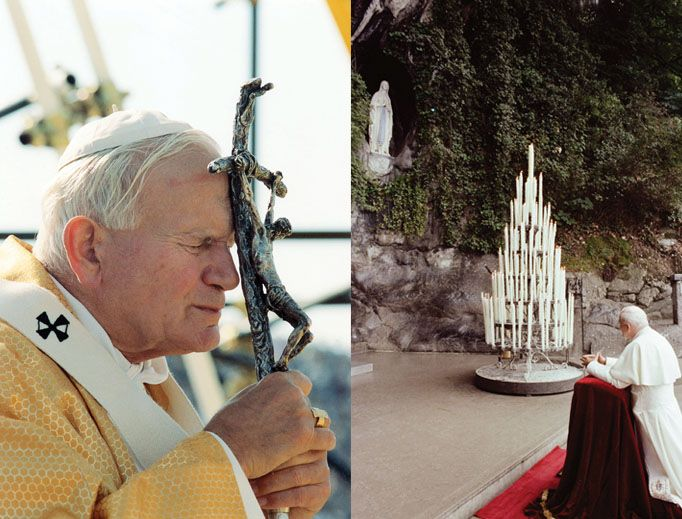 "Pope John Paul II's Devotion to Our Lady and the Cross - ""Pope John Paul II prays (r) in the grotto at the Shrine of Our Lady of Lourdes in Lourdes, France, in 1983. John Paul II, who died 12 years ago April 2, shown (l) in Taranto, Italy, in 1989."" ~ National Catholic Register"
