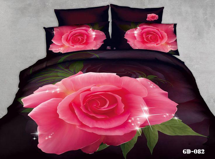 7 шт. 3D розовые розы печать калифорния король комплект постельных принадлежностей одеяла пододеяльник установлены кровать дизайнер лист спальня белье королева размер хлопок