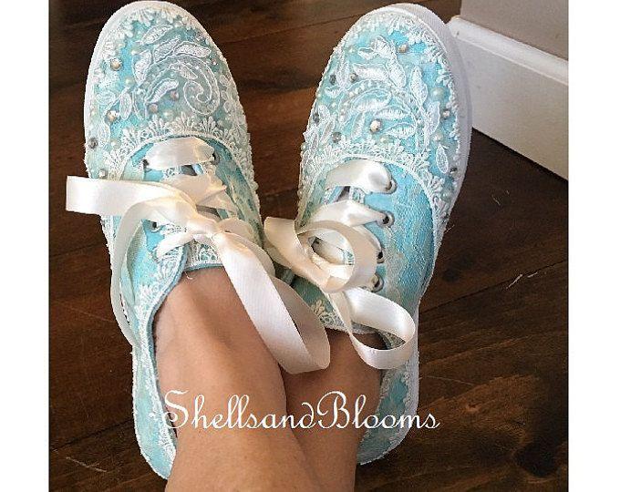 Boda nupcial zapatos tenis zapatillas - Organza o satén encajes - Rhinestone perlas - vintage inspirado - plano baile - Robins huevo azul