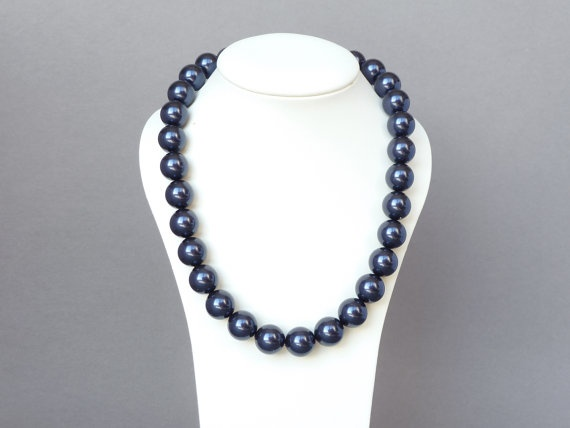 Navy Necklace - Dark Blue Pearls - Navy Bridesmaid Jewelry - Chunky Bead Swarovski Pearl Necklace - Navy Pearl Set. £31.00, via Etsy.