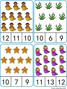 Count and Clip Cards: Mermaid (Numbers 1-20)