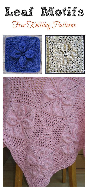 97b95cd19e16 Leaf Motifs Afghan Baby Blanket Free Knitting Pattern