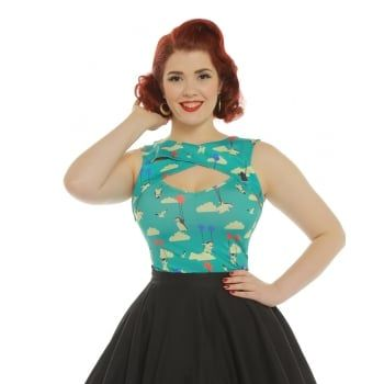 Alicia' Flying Penguin Print Fitted Top