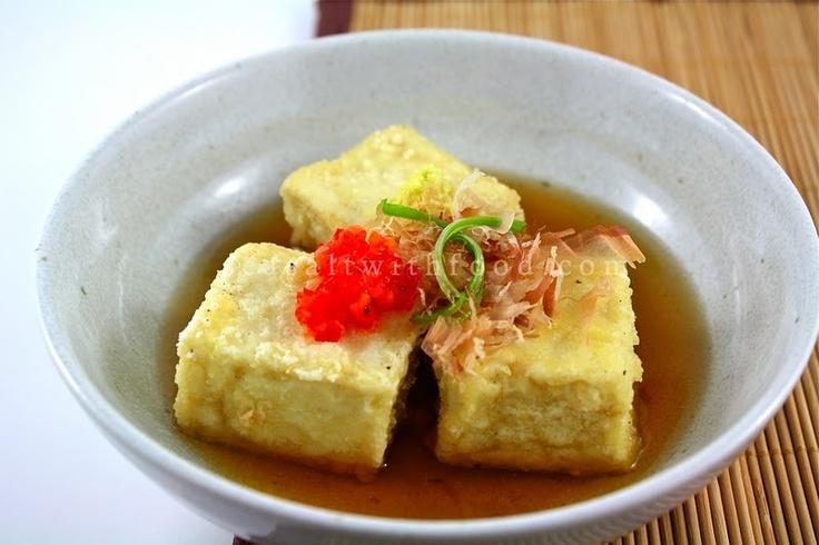 Agedashi Tofu. Includes a recipe for the sauce.