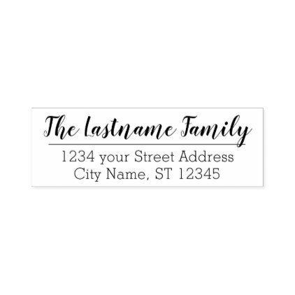 Custom Family Name and Return Address Handwritten Self-inking Stamp - return address gifts label labels cards diy cyo