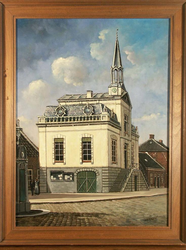 Oude Raadhuis van Loon op Zand in de Hoofdstraat te Kaatsheuvel, schilderij van Joseph Brocken