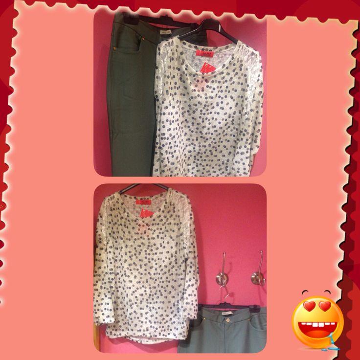 Camiseta beis y blanca con lunares y pantalón en beis. Camiseta talla única y pantalón desde la talla 38 hasta la 50
