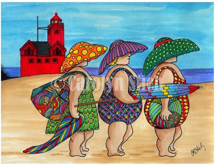 #402 The Girls on the Beach (Big Red) - Carolyn Stich Studio