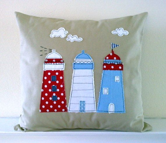 Lighthouse applique cushion cover in natural by mojosewsew on Etsy