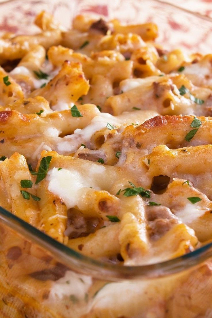 Baked Ziti - Made this recently. It was yummy and easy and made enough for a couple dinners and a lunch. I used what I had on hand which happened to be rigatoni noodles and a jar of sauce which had italian sausage in it. Turned out delicious with both substitutions, especially the hint of italian sausage in with the ground beef. Will make again!