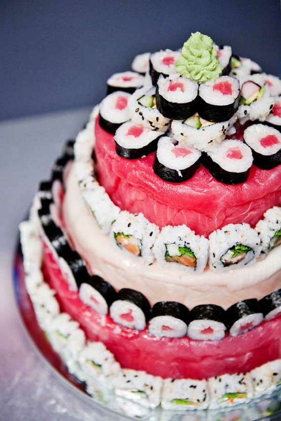 i know what kind of cake i'm having at my wedding. SUSHI!