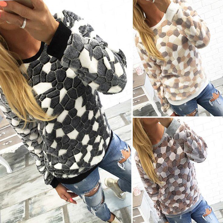 Дамы пушистый руно теплая новый Outwears звездой / горошек / камень шаблон / облако / письмо печать Crewneck пуловеры балахон купить на AliExpress
