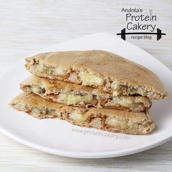 Banana Peanut Butter Stuffed Protein Pancakes - Calories: 155; C 15g; F 5g; P 12g