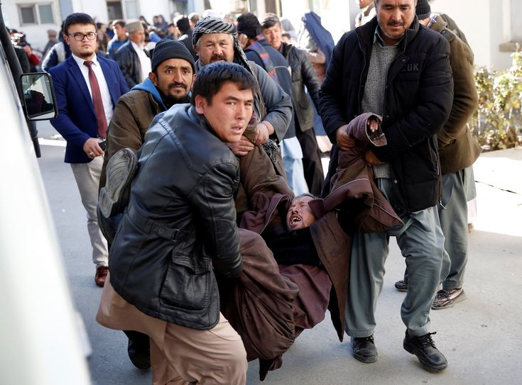 At least 40 people are dead after a suicide bomb attack hit a social centre and a news agency in Kabul