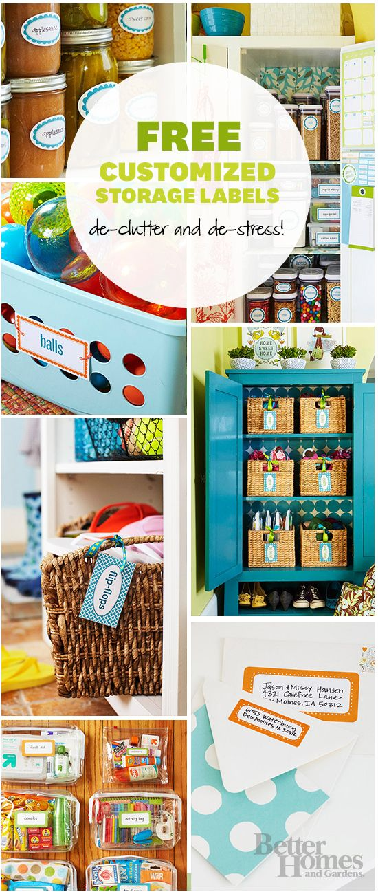 Download our handy (and free!) labels here: http://www.bhg.com/decorating/storage/organization-basics/free-printable-storage-labels/