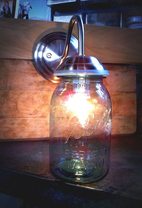 Wall Mounted Fruit Jar Lights : Mason Jar, Wall Sconce, Mason jar light Mason jar lighting, Jar lights and Wall sconces