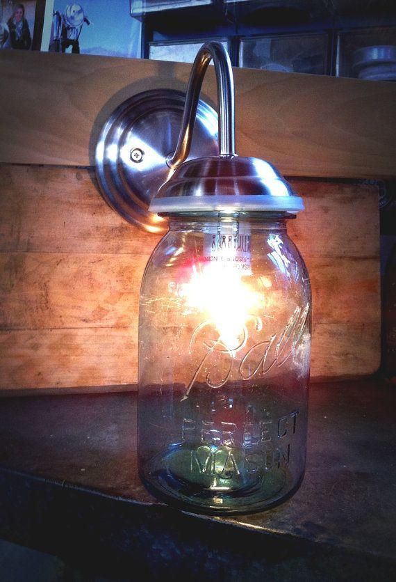 Bathroom Lights Etsy 310 best rustic love images on pinterest | mason jar lighting, jar