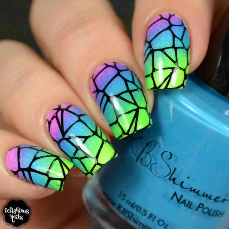Neon gradient nail design with black mosaic stamping art