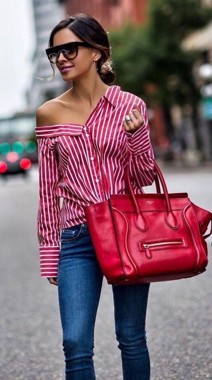 Más de 12 ideas para usar una blusa rayada 2018 4