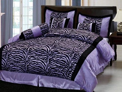 Chezmoi Collection 7 Pieces Purple And Black Zebra Micro
