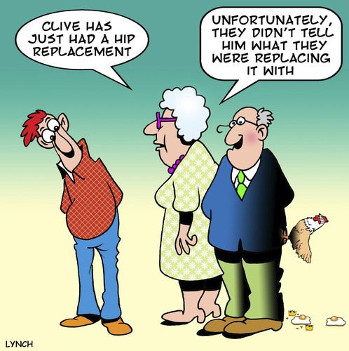 One Liner Jokes About Art : Cartoon hip replacement medium by toons tagged