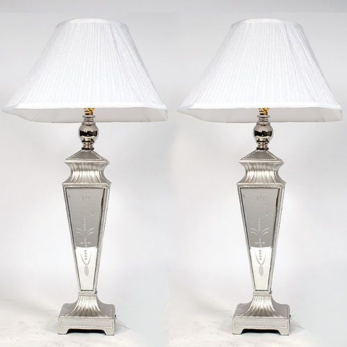 Silver Mirrored Tall Buffet Lamp,Set of Two,35''H. #Handmade #Mediterranean