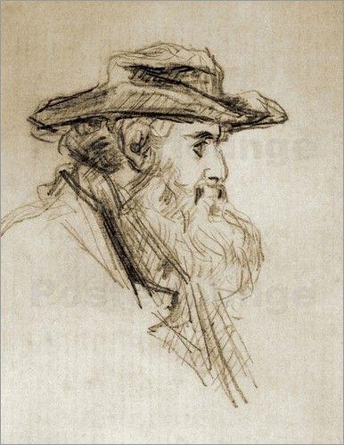 Paul Cézanne, Portrait of Camille Pissarro, c.1873. Pencil on laid paper. Musée du Louvre, Paris