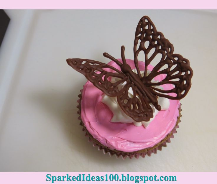 Butterfly Cupcake Toppers Template On top of the cupcakes