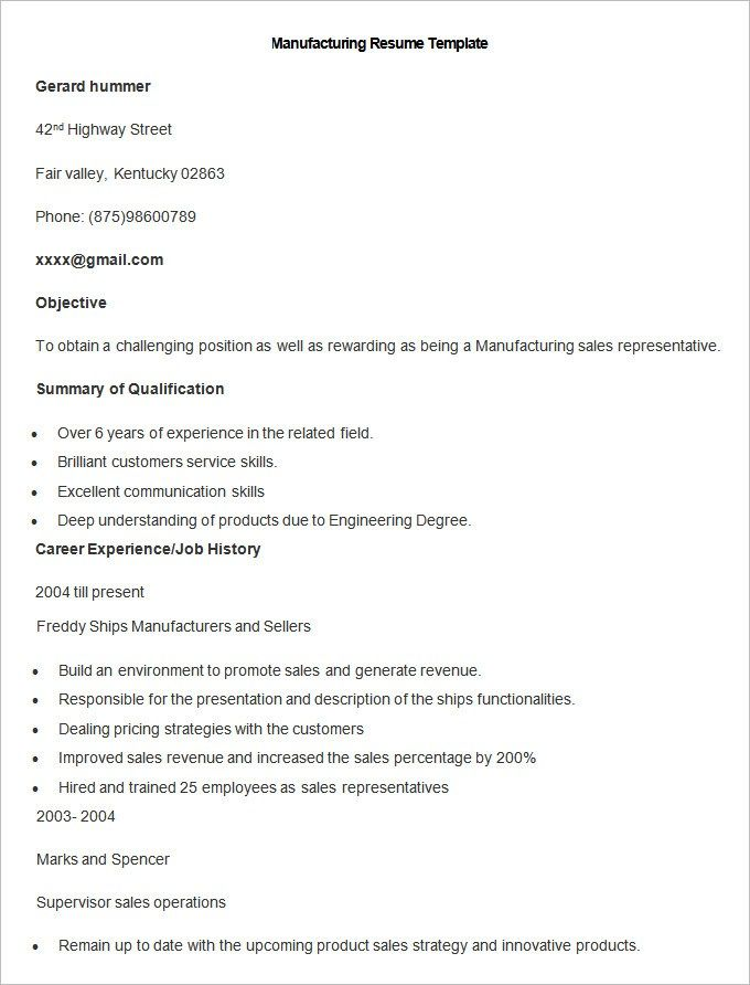 Resume Examples Manufacturing Pinterest Resume examples