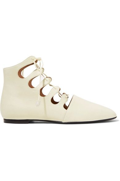 The Row - Dimitri Lace-up Leather Ankle Boots - Neutral - IT35