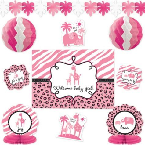 Pink Safari Baby Shower Room Decorating Kit   Party City