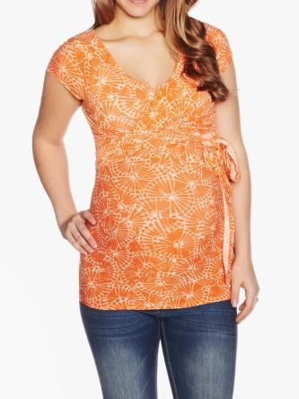 Printed Maternity Top With Crossbody Tie