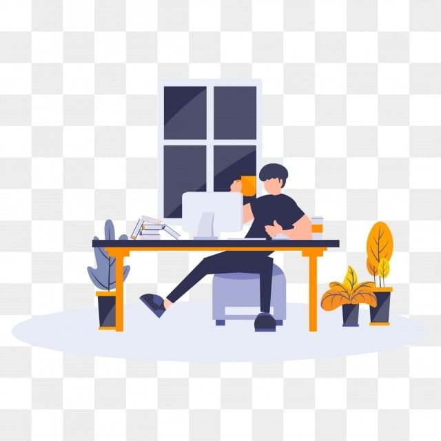 Flat Cartoon Illustration Man Doing Working At Office Home Office Clipart Flat Work Png And Vector With Transparent Background For Free Download Cartoon Illustration Illustration Flat Design Illustration