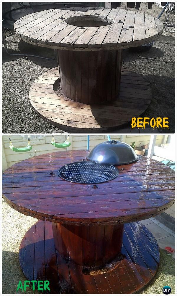 DIY Wire Spool BBQ Table Instructions - Wood Wire Spool Recycle Ideas