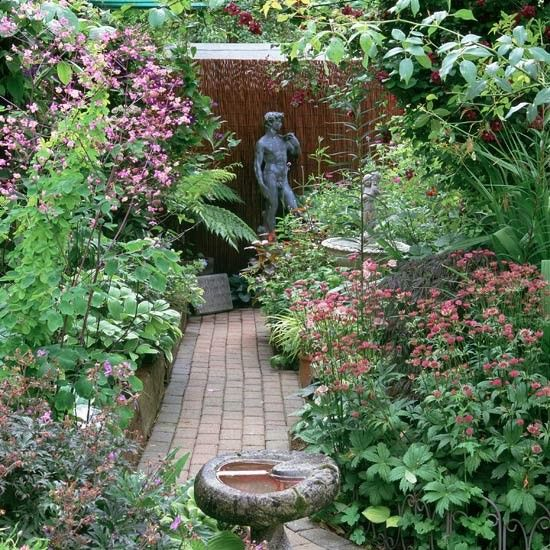 Traditional garden with sculptures