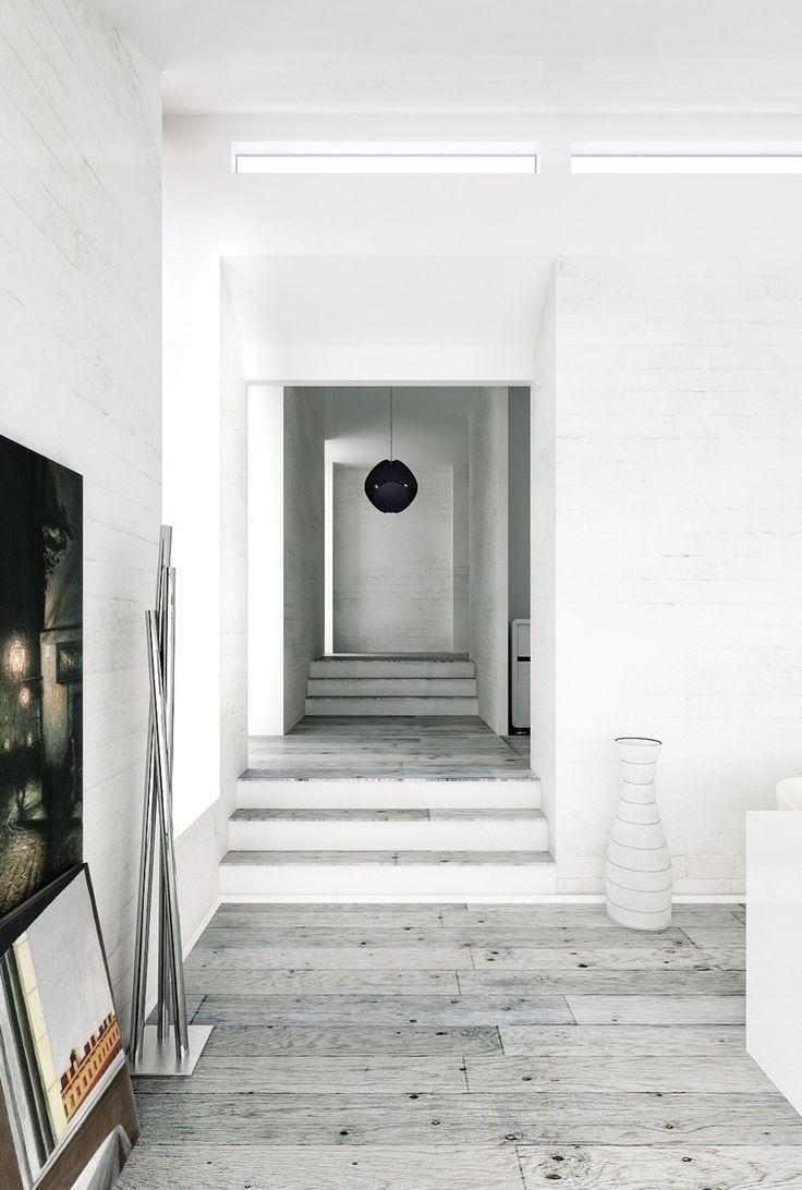 Nice combinationof white walls and greyish wooden floor.