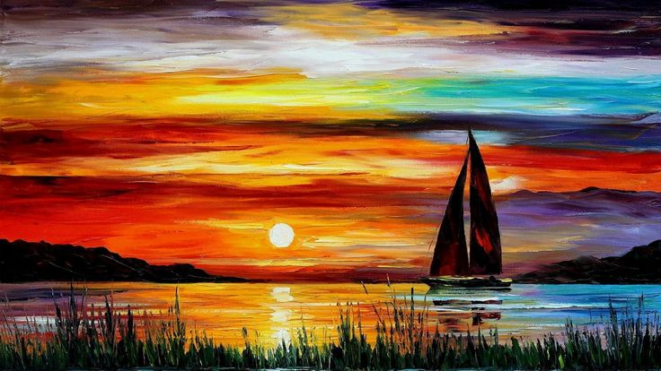 how to acrylic paint on canvas for beginners | Description: The Wallpaper above is Boat sunset painting Wallpaper in ...