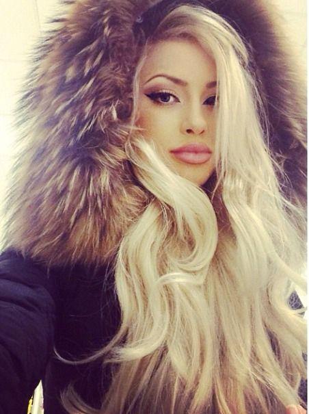 in coat fur blonde Beautiful