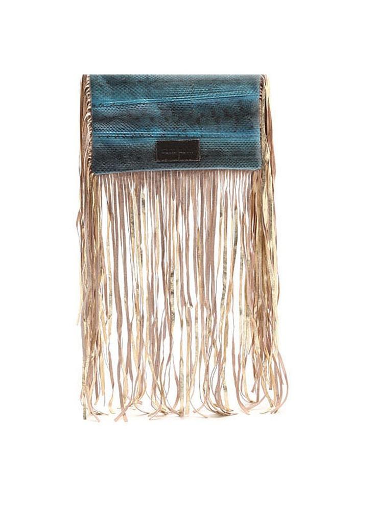 Sam Ubhi - Full Fringed Clutch Bag – Blue Snake without Handle