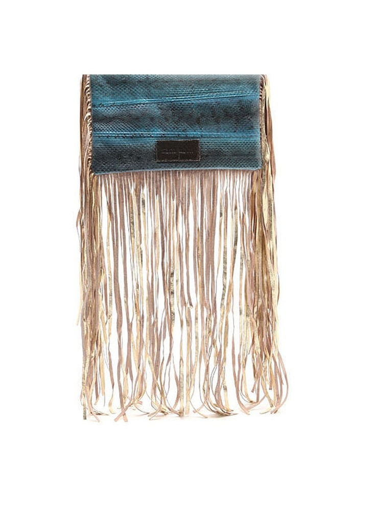 Sam Ubhi - Full Fringed Clutch Bag – Blue Snake without Handle