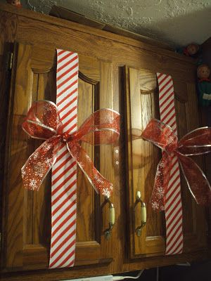 Holiday Decorated Cabinets...had to repin because they are exactly like my cabinets.  Lol
