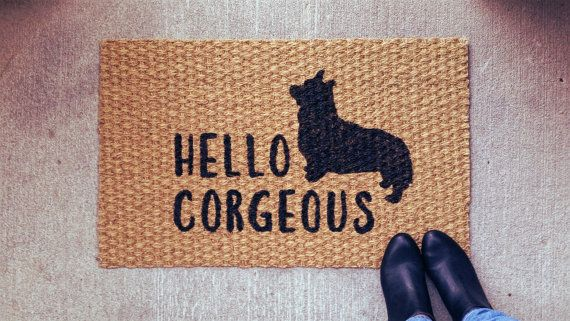 Hello Corgeous Corgi Welcome Doormat by UrbanOwlCoShop