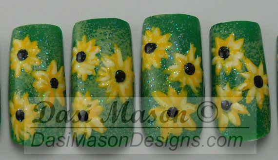 Sunflowers Instant Acrylic Nail Set on Etsy, $10.00