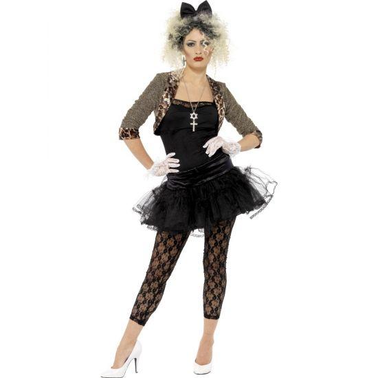 Stoer jaren 80 kostuum voor dames. Deze complete outfit bestaat uit een kort jasje, topje, tutu, legging, handschoenen en diadeem.