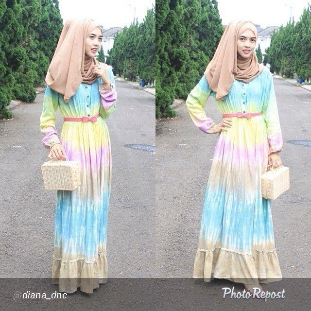 Inspirasi mix match Dress tiedye koleksi http://hijabcornerid.com