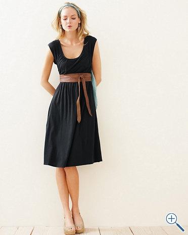Simple and cute! Knit Dress, Scoop Neck, Gathering, Belt makes it look like empire waist, Garnet hill