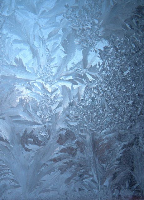 Frost on a window pane at sunrise