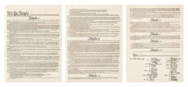 A copy of the original, entire three page text of the US Constitution. - Eliza…