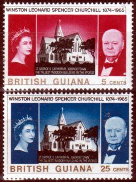British Guiana 1966 Churchill Set Fine Mint SG 574 5 Scott 297 8 Other British Guiana Stamps For Sale HERE